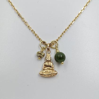Collier Plaqué Or, Buddha, Jade et Hématite