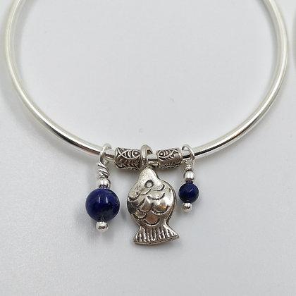 Créoles Argent, Lapis lazuli et Poisson Tribu Karen