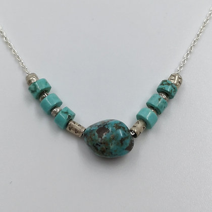 Collier Argent, Heishi Turquoise