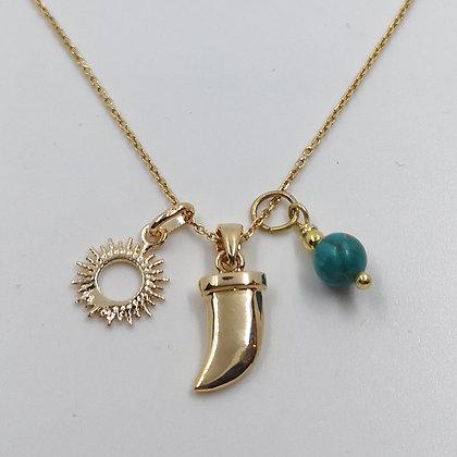 Collier Plaqué or et Turquoise