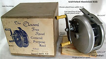 1-CLASMI vintage Fly & genral purpose fishing reel; Acid etched body, with Box