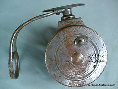 ACME model H all metal side-cast fishing reel back plate image