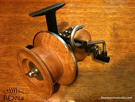 Les Collins Silky oak prototype Seamartin style fishing reel stamped L C No.2.