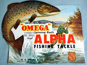 Alpha Omega vintage fishing reel advertisement sign