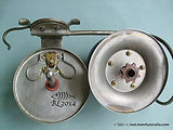 Vintage G E S side-cast fishing reel, internal gearing view