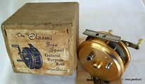2-Clasmi vintage Gold anodised Fly fishing reel with Box