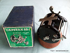 Early 'Capstan 69' revolving drum multiplier fishing reel presented with original box & specfication guide booklet, Very rare version