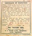 5- TAYLOR vintage fishing reel Certifica