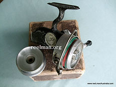 Early vintage EILDON { aluminium spool} thread line reel; flat black finish.
