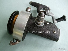 Eildon vintage spinning reel -C 1947, alloy capstan star drag knob) which is of claw design; Plastic spool;folding crank.