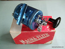 Blue anodised Magna-Flite vintage fishing reel with original box