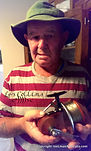 Les Collins 2012, Photographed  with his first prototype  L C No.1 Australian red cedar Surf Reel.