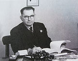 Herbert Bain, at his Melbourne factory office in 1946