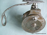 PERFECT nikle plated Brass, Side-cast fishing reel - Back plate view.