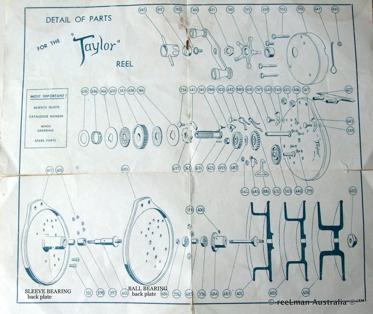 07-  TAYLOR vintage fishing reel service