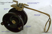 1- KORKA 4 1/2'' side cast fishing reel