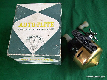 Auto-Flite spinning reel GOLD anodized modle with original box, Extremely Rare -c 1958