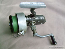 EILDON -C1947. Vintage Thraeadline spinning reel, Diecast alloy body & rotor; Top view image.