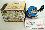 1- SEASCAPE vintage fishing reel Blue anodised model with first design Box, specfication Booklet, Rare.