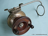 Vintage G E S wood & metal side-cast fishing reel press lever action turn table
