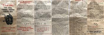 1-Clasmi vintage Fly fishing reel user guide pamplet
