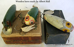 Vintage wooden fishing lure made by Albe