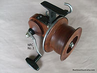 Les Collins Australin Red Cedar wood prototype Seamartin style fishing reel stamped L C No.3.