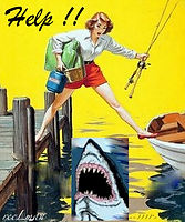 5-Vintage Shark attack fishing post cards by reeLman Au