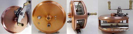 2-CLASMI vintage Fly fishing reel; Copper Bronze colour