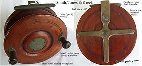 1-Wood & brass Smith Jones 6 3/8 '' Ball Bearing Nottingham reel