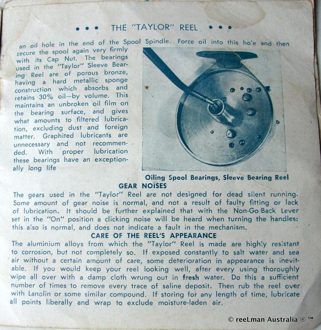 06- TAYLOR vintage fishing reel service