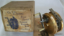1-Clasmi vintage Gold anodized Fly fishing reel with Box