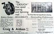 1- CROUCH vintage fishing reel advertise
