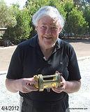 JENKIN Big Game vintage fishing reel made in Australia. Image of maker Engineer Graham Jenkin.