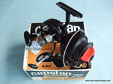 Capstan 77 'Fast Retieve' Thread-line spinning reel presented with original box in Mint condition, Very Rare version