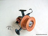 Les Collins Silky oak prototype Seamartin style fishing reel stamped L R C No.11.