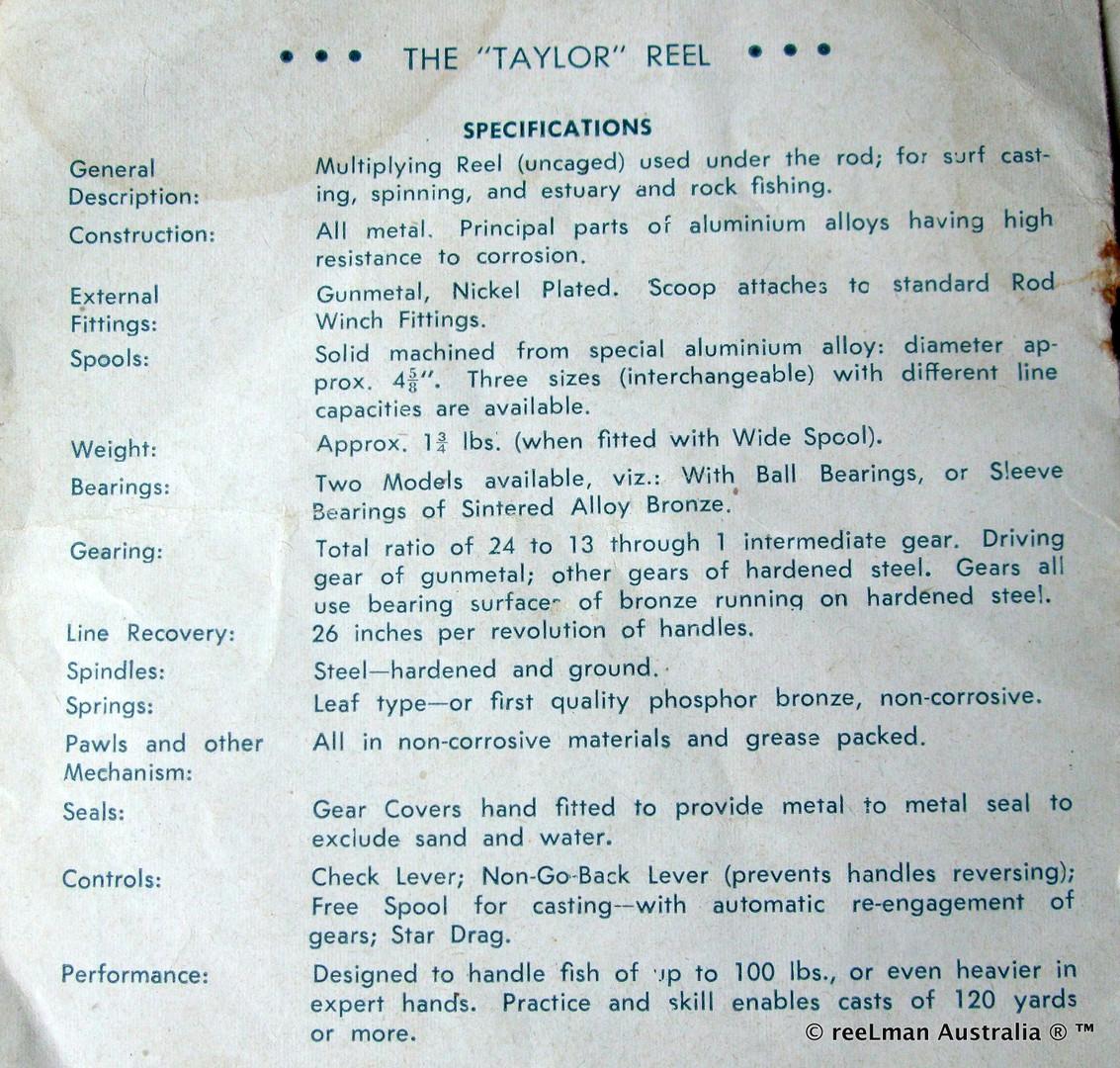09- TAYLOR vintage fishing reel service