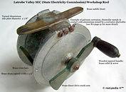 1-Vintage Workshop direct wind fishing reel, made in Australia