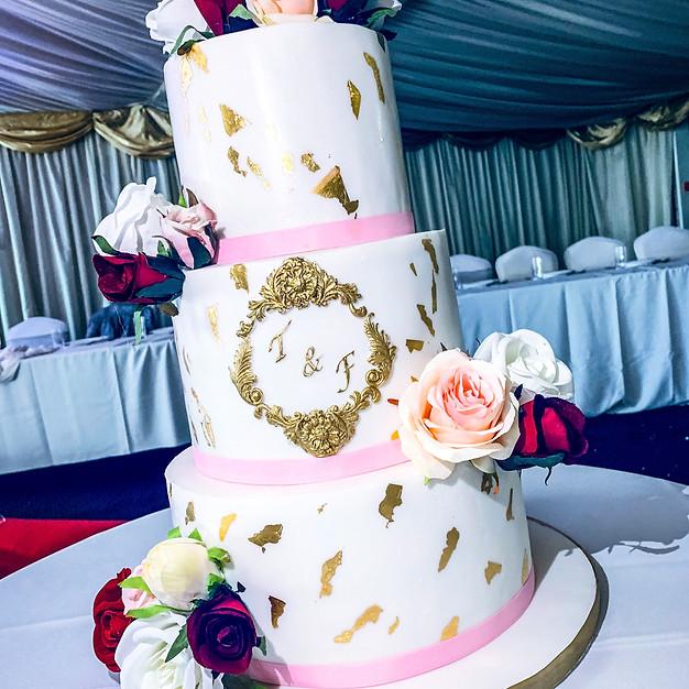 Gold Leaf Wedding Cake.