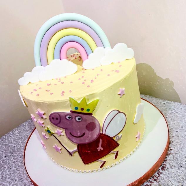 Peppa Pig and Rainbow Cake.