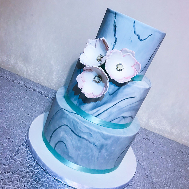 Teal Blue Marble Wedding cake.