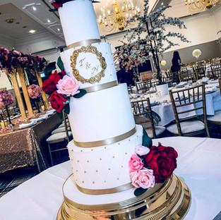 White and Gold Wedding Cake.