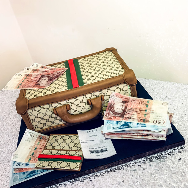 Gucci Suitcase Cake.
