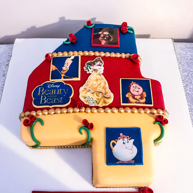 Beauty and The Beast Number Cake.