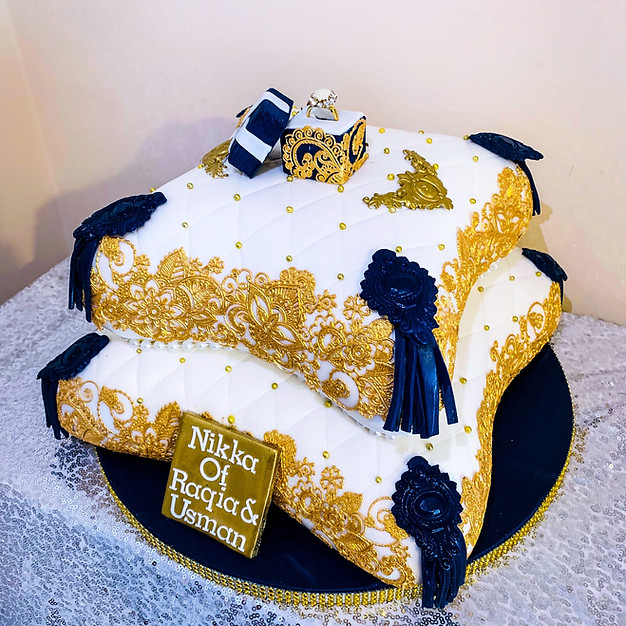 Gold Lace Pillow Cake