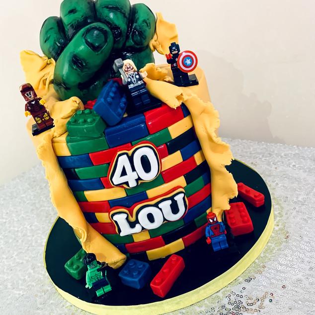 Avengers Lego Cake.