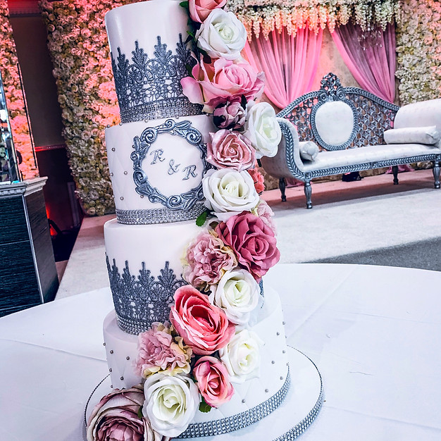 Lace Cake with Floral Cascade.