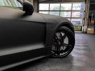 MATTE BLACK Porsche Taycan Turbo wrap
