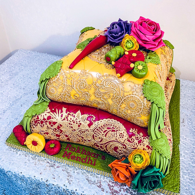 2 Tier Mehndi Pillow Cake.