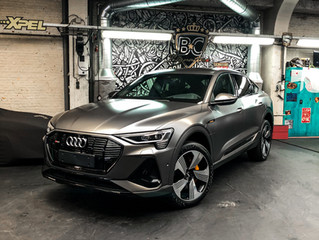 The first AUDI E-TRON SPORTBACK wrapped in Satin silky charcoal